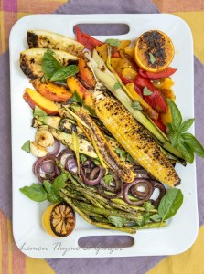 Grilled Vegetables with seared chicken skewers recipe.