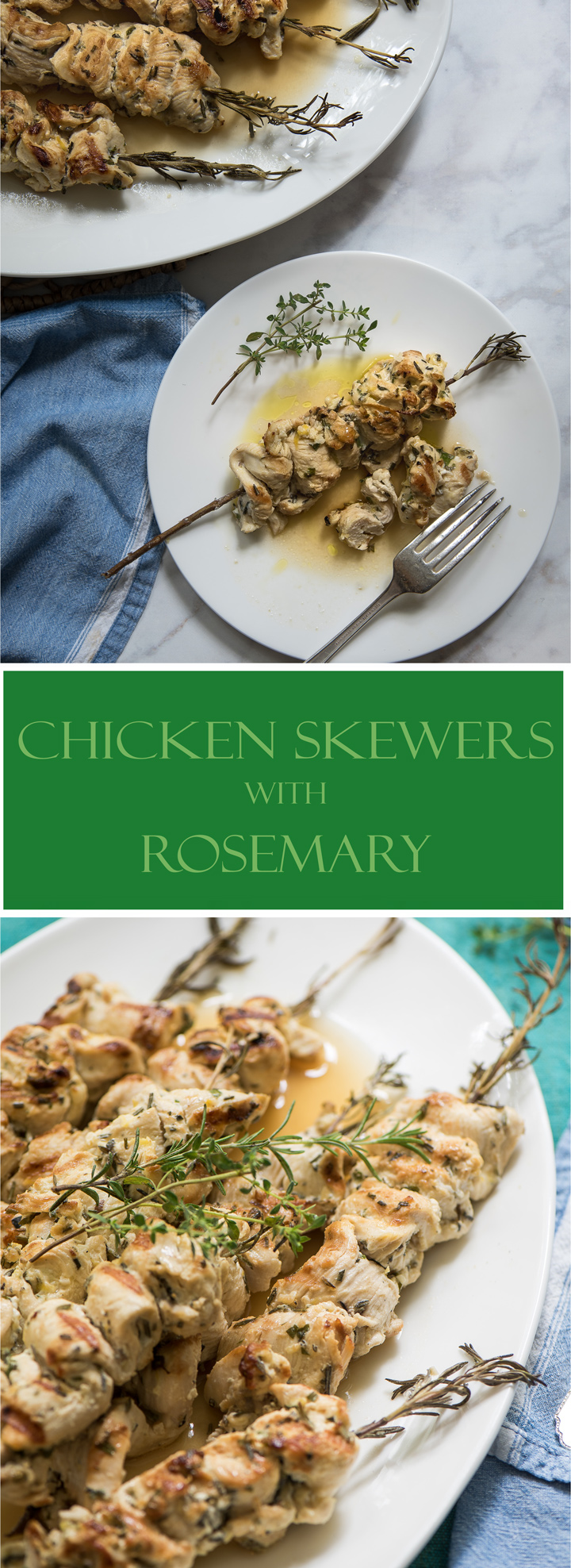 Seared chicken skewers with rosemary recipe. Moist chicken skewers made with chicken marinated in a fresh herb marinade and threaded on woody rosemary stems.