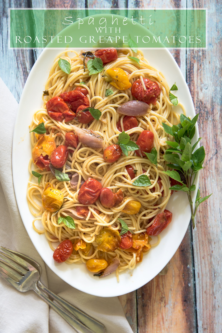 Spaghetti with Roasted Cherry Tomatoes with Fresh Herbs. Oven roasted cherry tomatoes make the most luscious sauce perfect for pasta. Fresh cherry tomatoes, garlic, shallots and fresh herbs gently roast till soft and just beginning to caramelize, making the sauce silky and full of flavor.