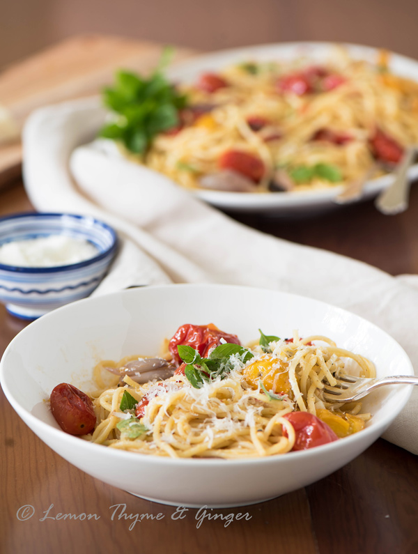 Spaghetti with Roasted Cherry Tomatoes and Fresh Herbs, recipe.