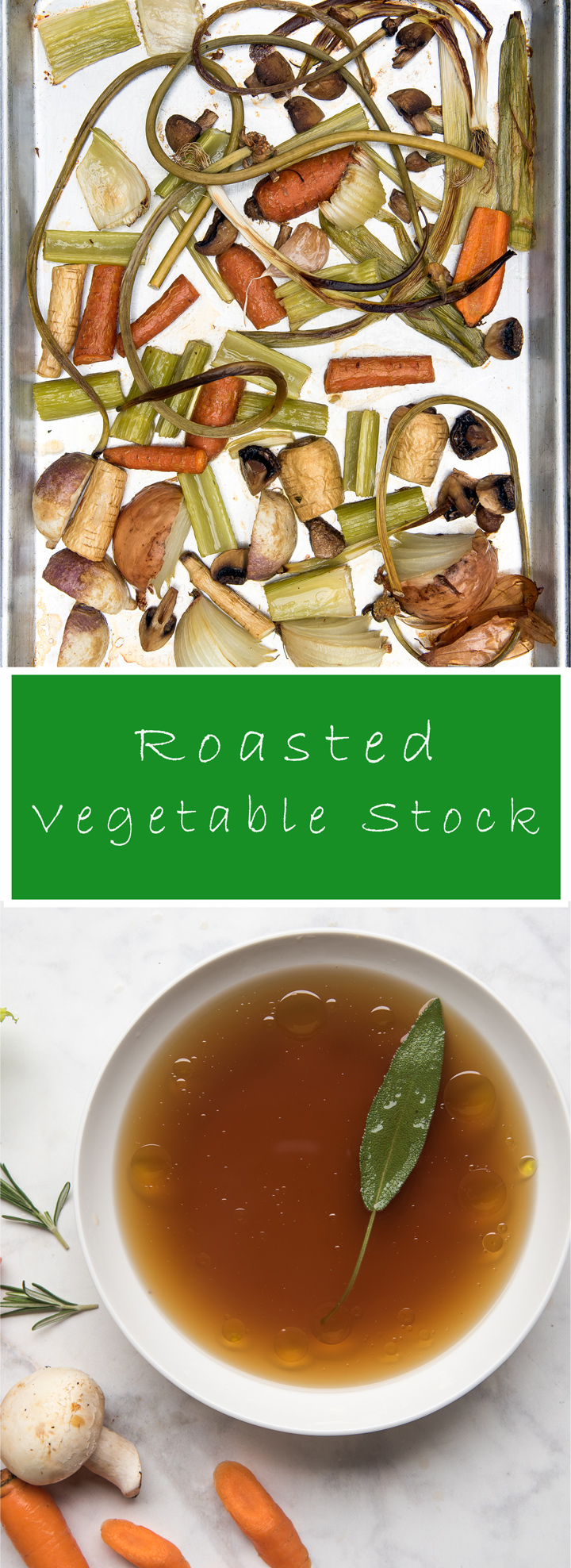Roasted Vegetable Stock Recipe. This is an all-purpose vegetable stock recipe and the only one worth making. Before you simmer the vegetables roast them and deglaze the pan. These two extra steps adds depth of flavor and a deep golden color. Recipe from How to Cook Everything by Mark Bittmen.