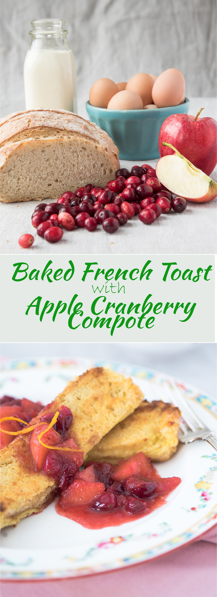 Baked French Toast with Apple Cranberry Compote recipe. Baked french toast recipe and topped with an apple cranberry compote. Soak the french toast overnight then bake them in the oven while you make the fruit compote. A festive breakfast the for holiday season.
