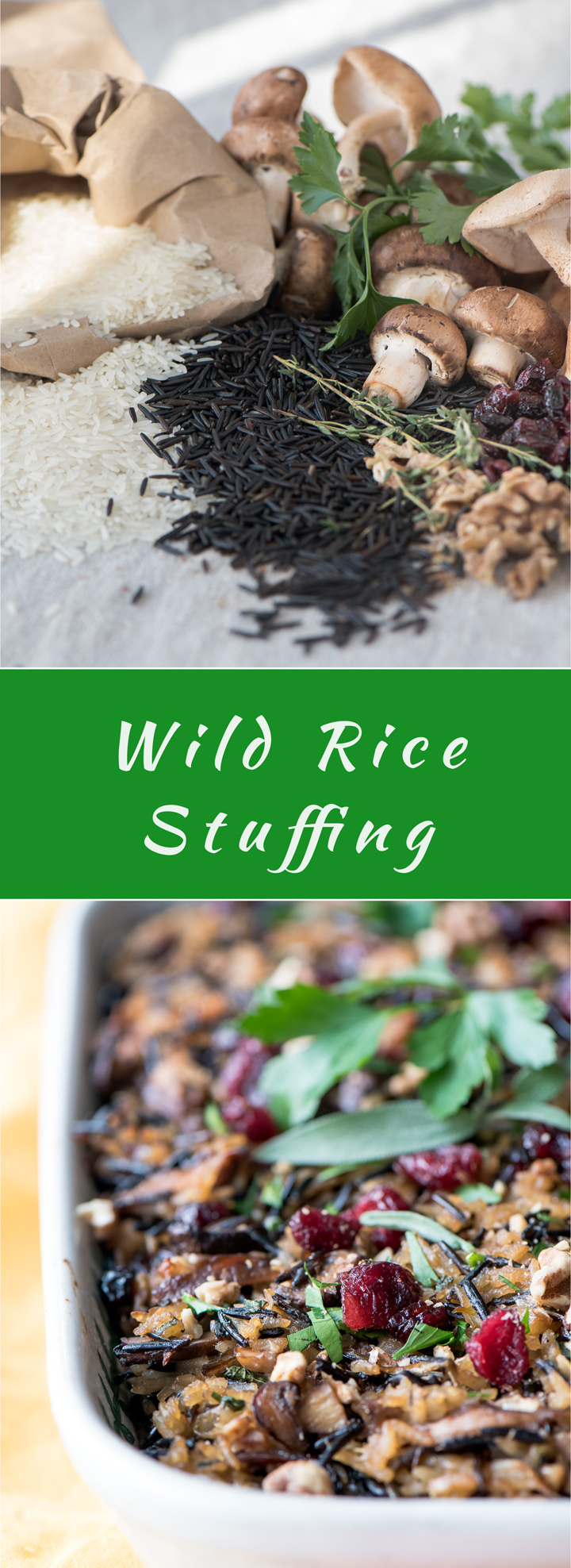 Wild Rice Stuffing with Mushrooms and Cranberries recipe. Wild rice stuffings is a gluten-free alternative to traditional stuffing on Thanksgiving. It also makes a hearty side dish for all the other fall and winter nights. Pair with roasted meats or fish.