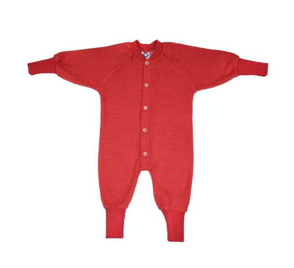 Pyjama laine rouge sans pieds