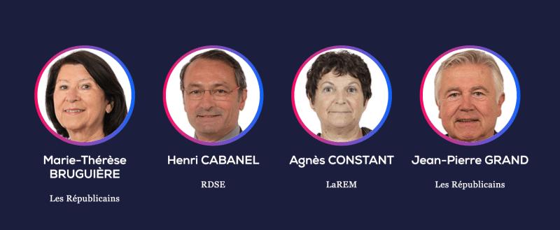 Marie-Thérèse Bruguière (LR), Henri Cabanel (RSDE), Agnès Cosntant (LaREM), Jean-Pierre Grand (LR)