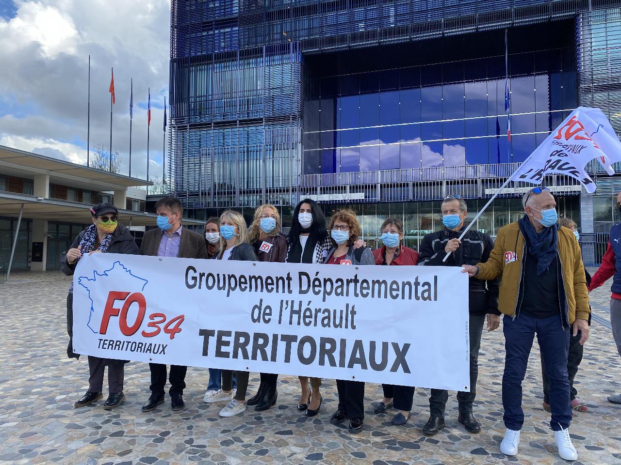 Octobre 2020, mobilisation FO devant la mairie de Montpellier