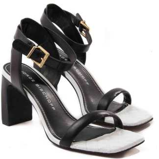 sandalia feminina jorge bichoff preta e branca