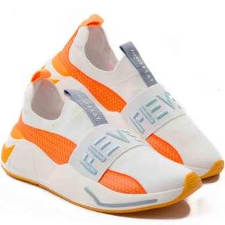 tenis fiver masculino laranja e branco