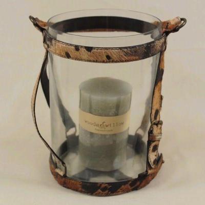 Portacandele in vetro con manici in pelle - candela