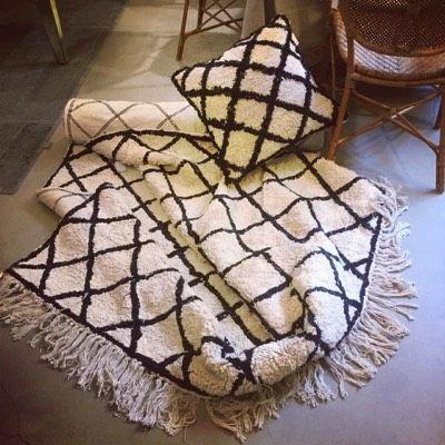 Tappeto Copenaghen in cotone natural colore bianco e rombi neri
