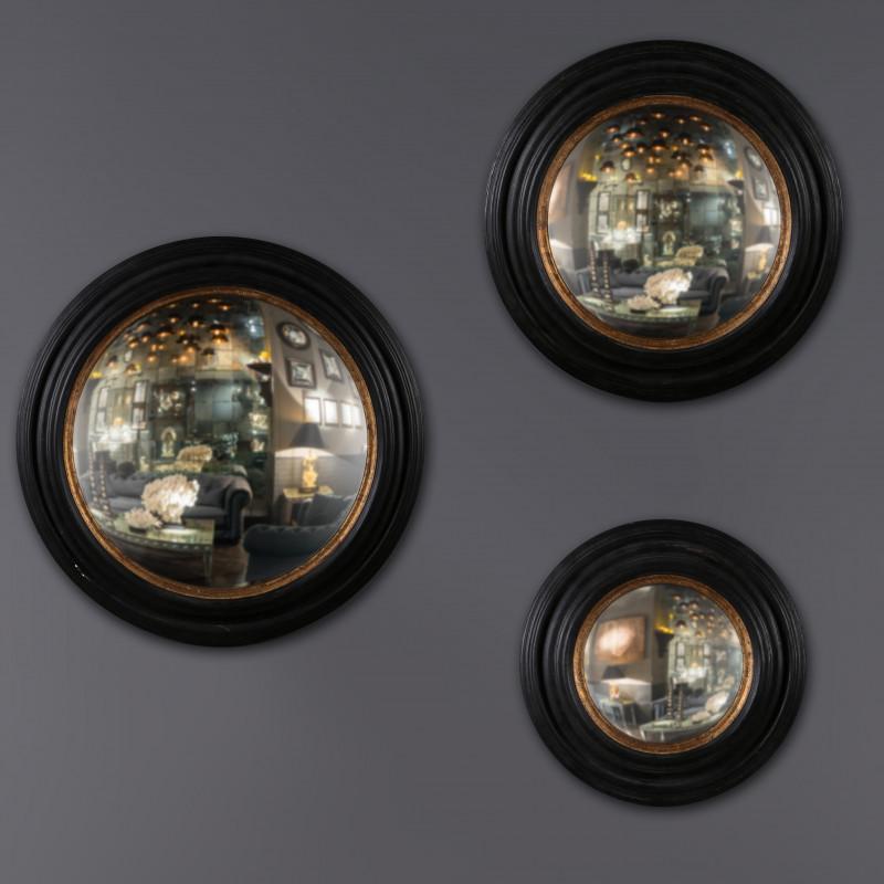 specchio nero oro convesso