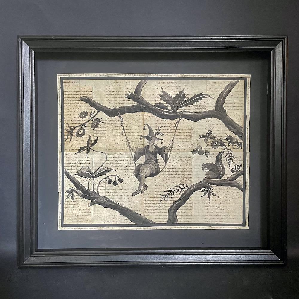chinoiserie su manoscritto in cornice