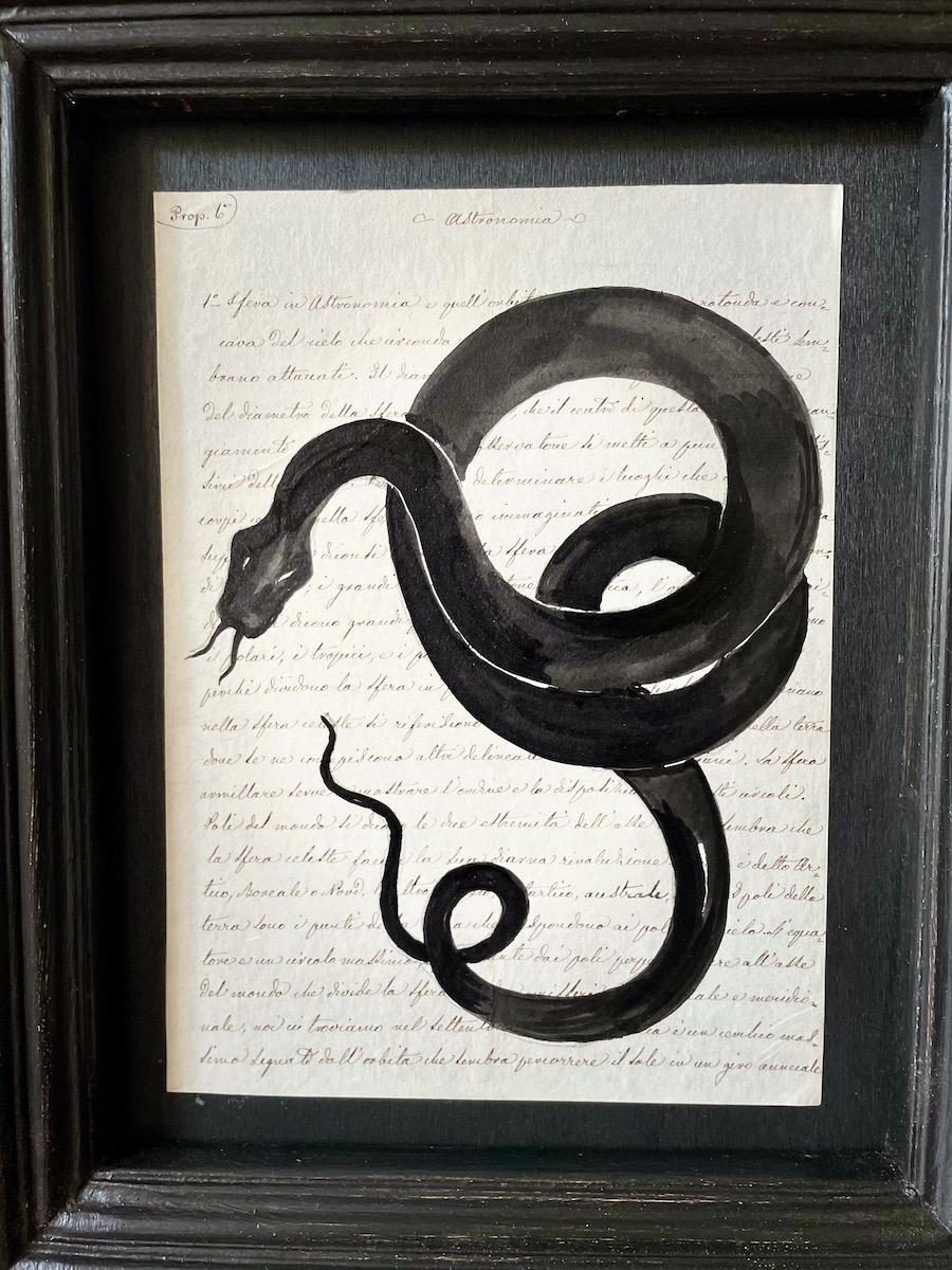 serpente nero su manoscritto