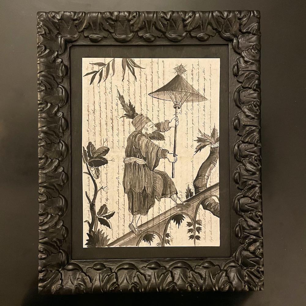 chinoiserie china nera su manoscritto cornice