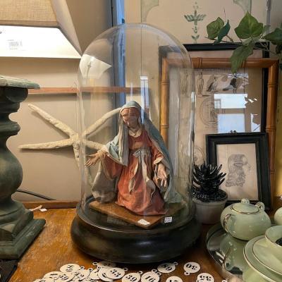 grande campana vetro e legno ebanizzato