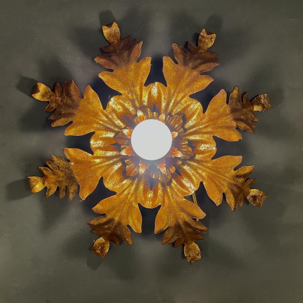 plafoniera vintage oro foglie