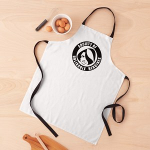Society of Unlikable Heroines apron with a bowl of brown eggs
