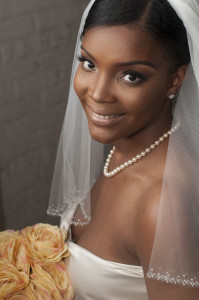 black bride with beautiful makeup