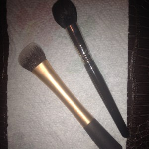 My two favorite foundation brushes:  Real Techniques Expert Face Brush; Hakuhodo 210.  Using a fluffier brush gives an airbrushed appearance.