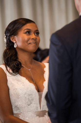 Black Bride Looks Into Grooms Eyes