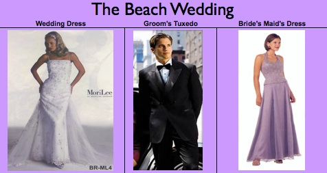 "A snippet of the ""Beach Wedding"" spreadsheet, circa 2001.  Definitely NOT a fan of those dresses anymore."