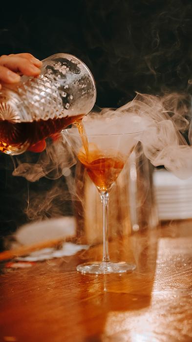 closeup of a cocktail pour
