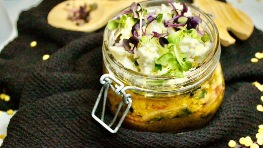 Linsen Salat im Glas