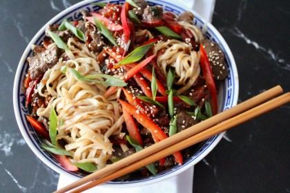 Asia Nudeln mit Fleisch