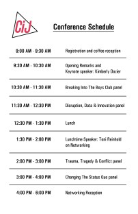 Schedule in conference program