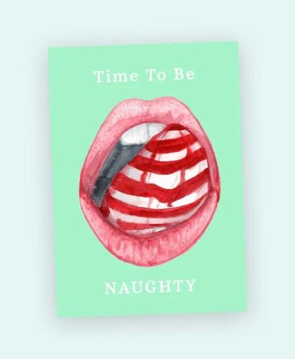 naughty christmas postcard sexy lips candy