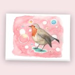 robin bird illustration watercolour postcard art gifts