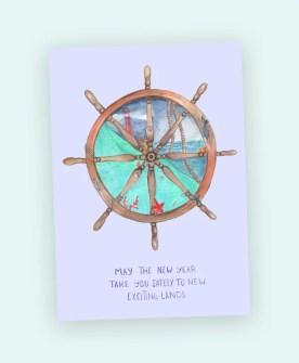 wheel nautical new year card