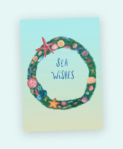 sea wishes wreath watercolor art