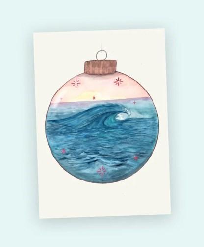 art card mini print watercolour wave