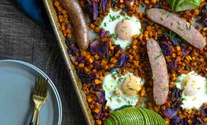 ONE SHEET PAN SWEET POTATO BREAKFAST