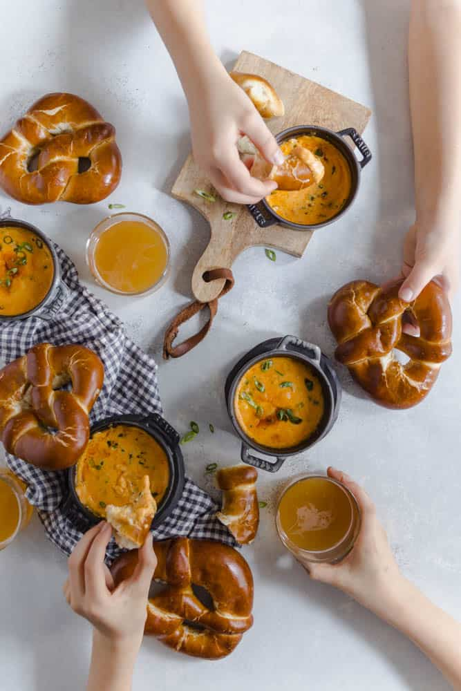 PRETZELS WITH BEER CHEESE DIP