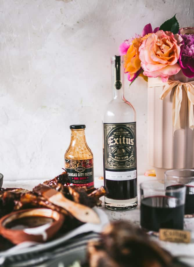 Exitus red wine and Private Selection Kansas City BBQ sauce for Instant Pot Ribs