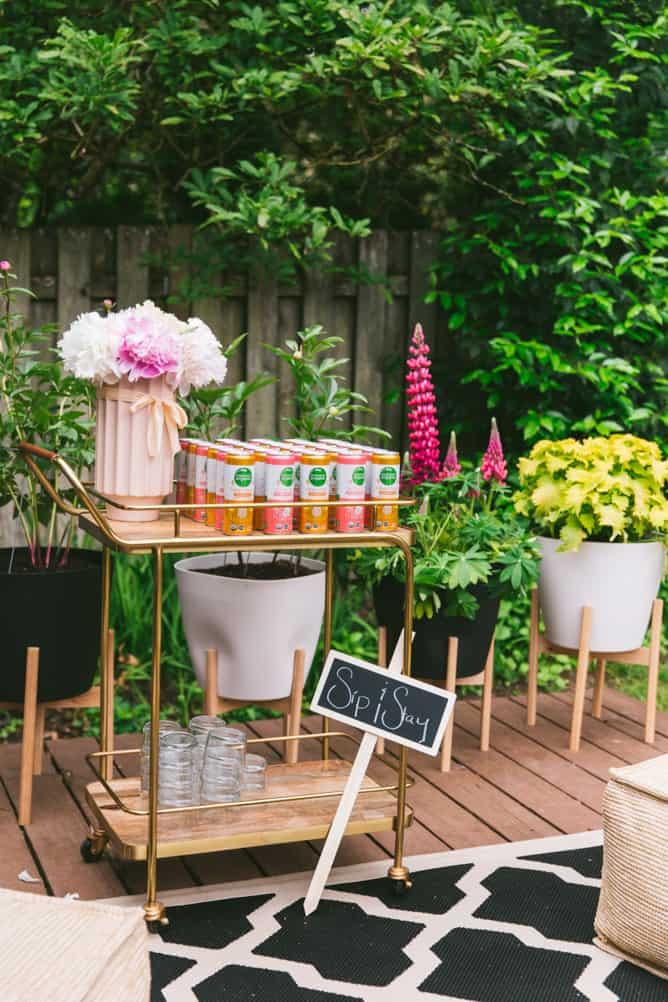 sip station at lenas kitchen garden party