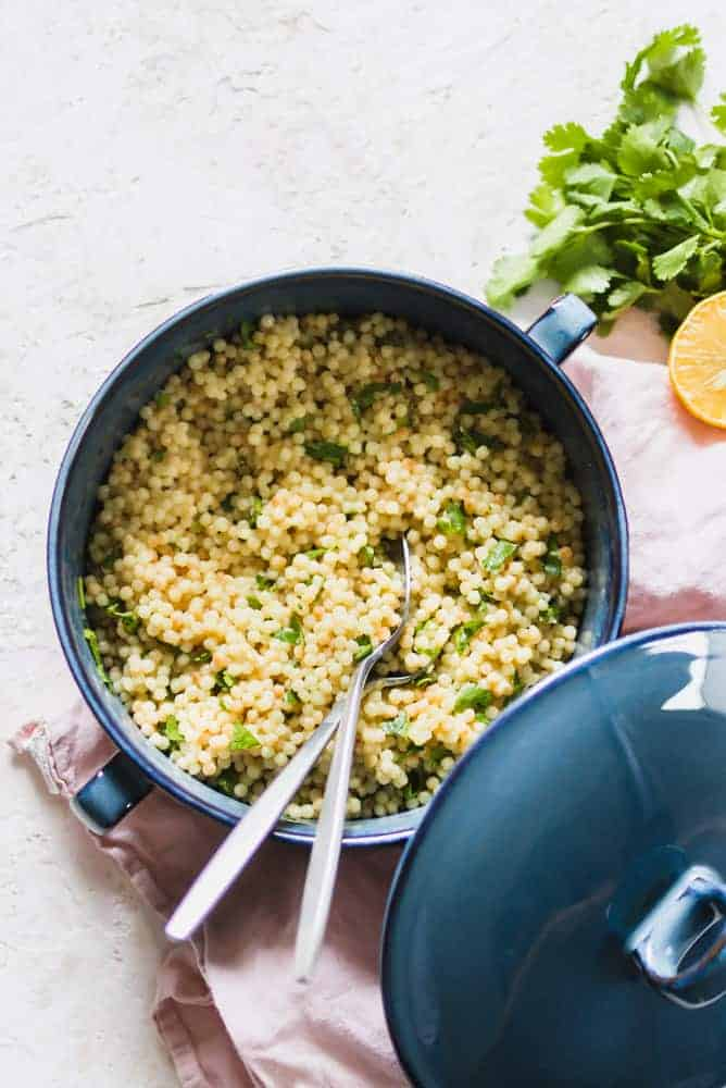 This makes an easy side dish to any meat, fish or top with grilled veggies. Use Israeli couscous to make a cold salad with leftovers.