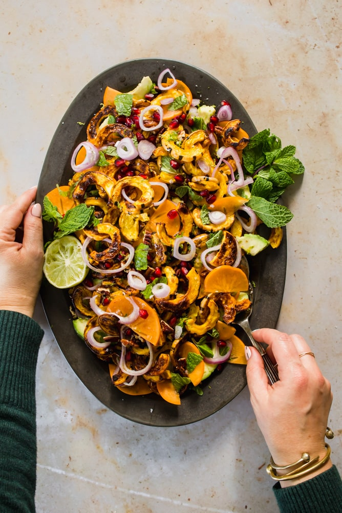 delicata squash salad served on platter