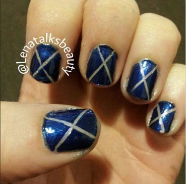 blue and silver striping tape manicure