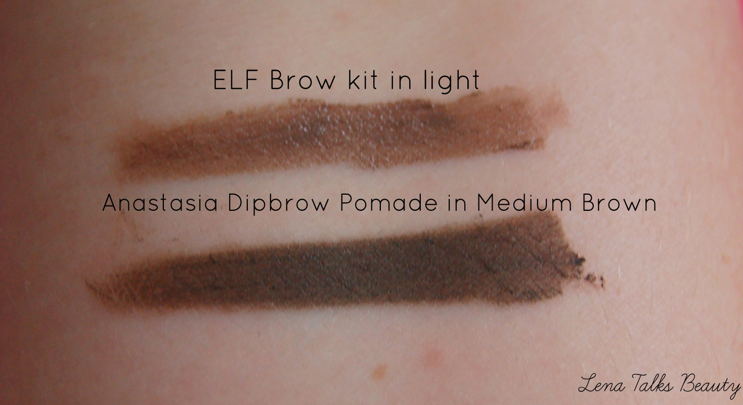 elf eyebrow kit medium vs dark. elf brow kit light medium brown dip comparison swatch. this is how it looks on me. at first i thought was a bit too dark, but blended out and eyebrow vs dark e