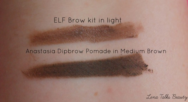elf brow kit light medium brown dip brow comparison swatch