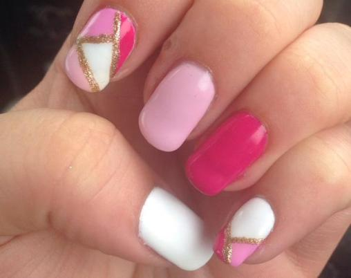 Artistic color gloss pink manicure