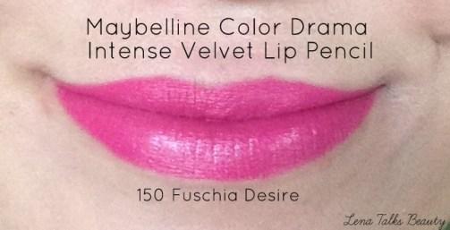 Maybelline Color Drama intense velvet lip pencil 150 fuschia fever lip swatch