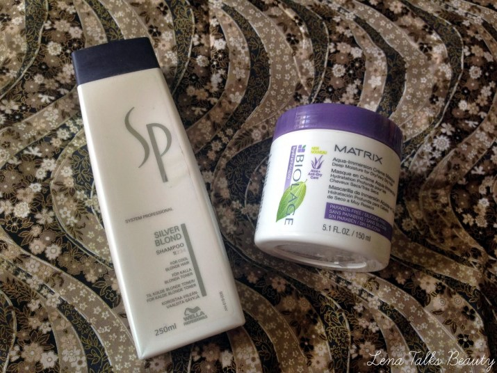 la SP silver blond shampoo, matrix biolage aqua immersion creme masque.25