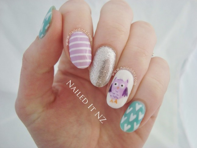 Pastel Owl Nail Art - With Gel Polish