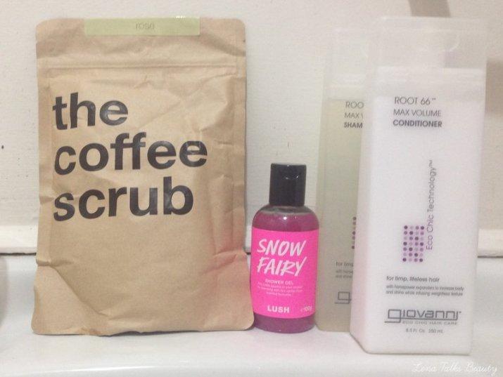 The Coffee Scrub, Lush Snow Fairy, Giovanni Root 66 Max Volume - Lena Talks beauty.22