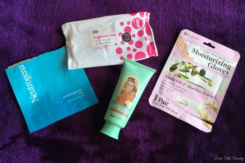 Neutrogena hydroboost mask, kmart wipes, glamourflage halo helen, moistursing gloves - lena talks beauty