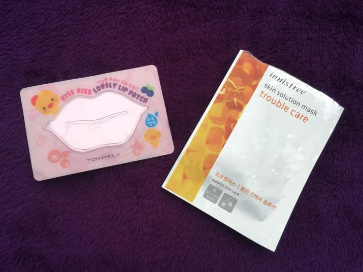 Tony moly kiss kiss lip mask, innisfree skin solution mask trouble care